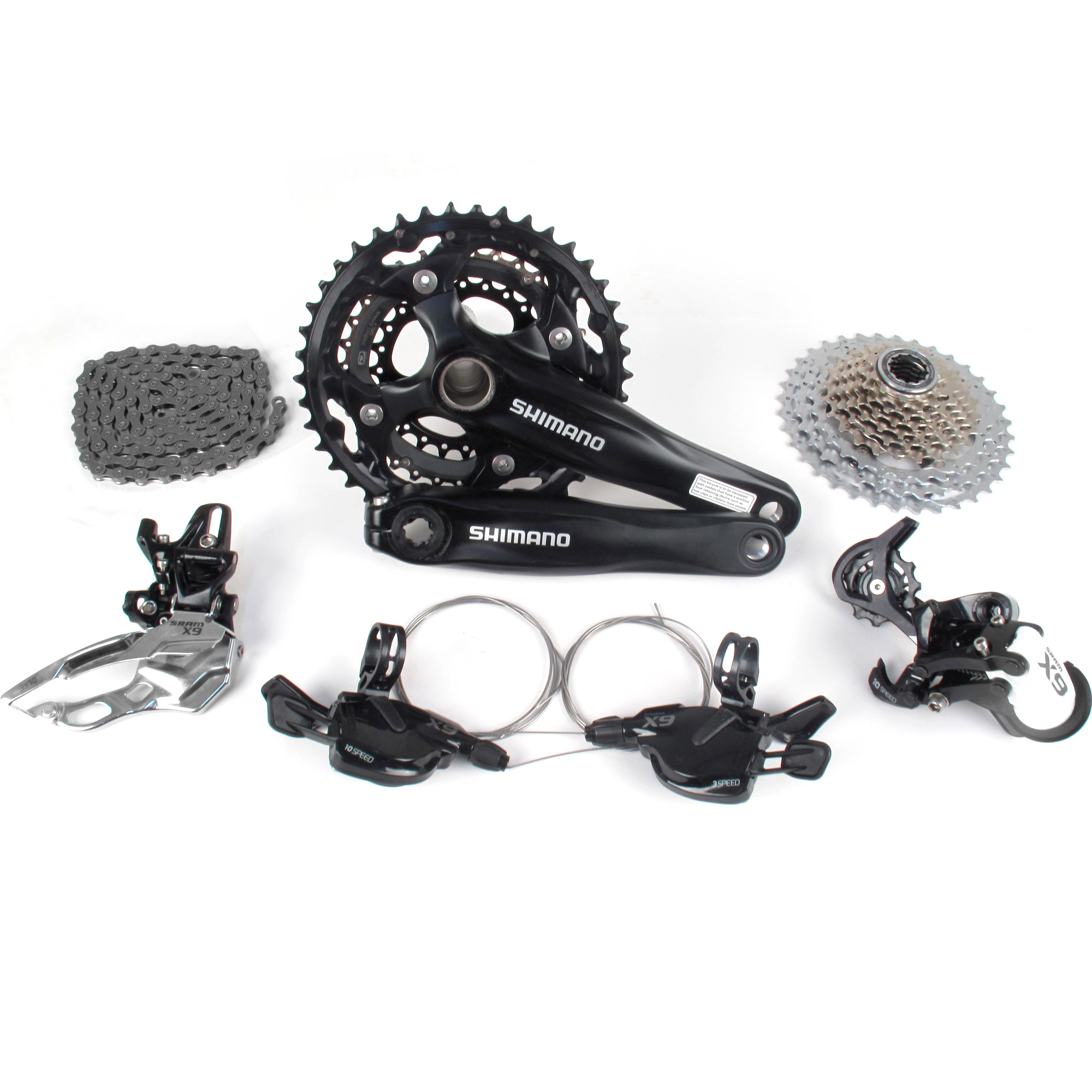 SRAM X9 SHIMANO SLX Mountain Bike Crankset Groupset 3x10 Speed // FC-M552 / HG81   eBay