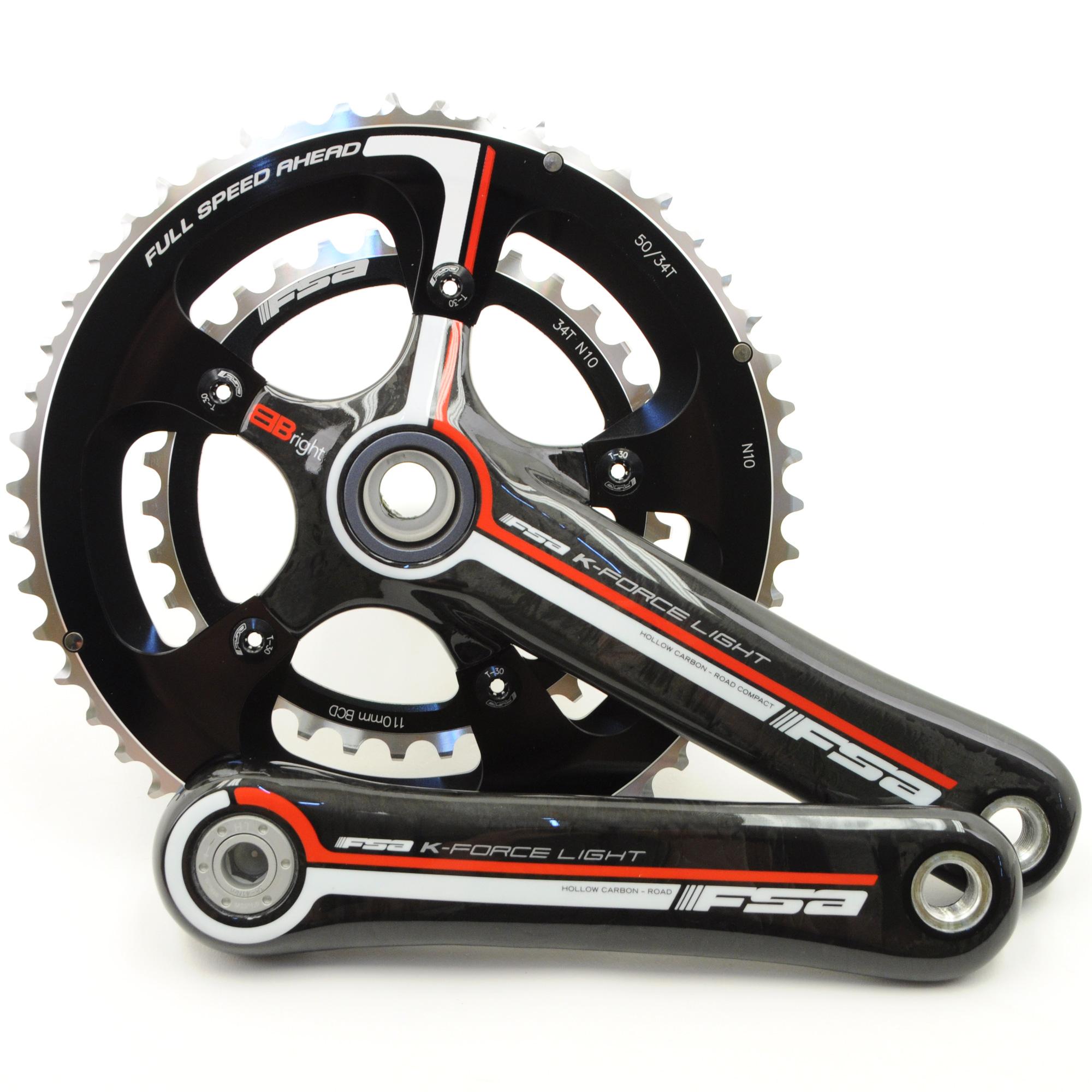 FSA K-Force Light BBright Carbon Road Bike Crankset 50//34 10 Speed 170mm//// Black