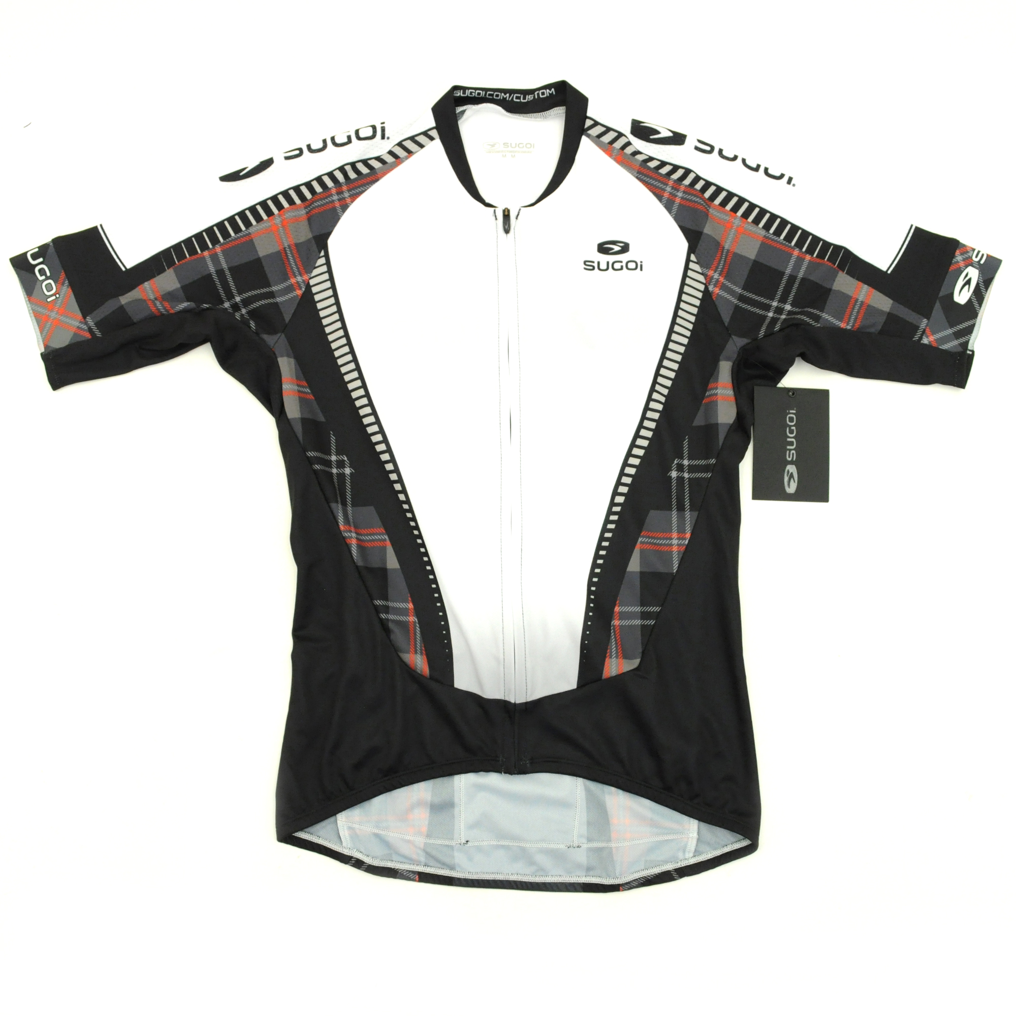 Sugoi Bike Cycling RS Training Jersey X-Small Black White Red Plaid ... 3c3befd2f