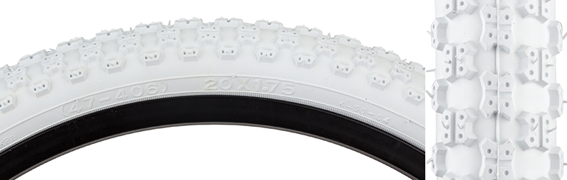 Sunlite Mx3 K50 Youth Kid/'s Bike Bicycle Tire 20x1.75 White//White